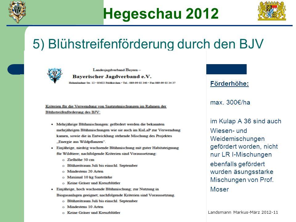 Hegeschau 2012 5) Blühstreifenförderung durch den BJV Förderhöhe: