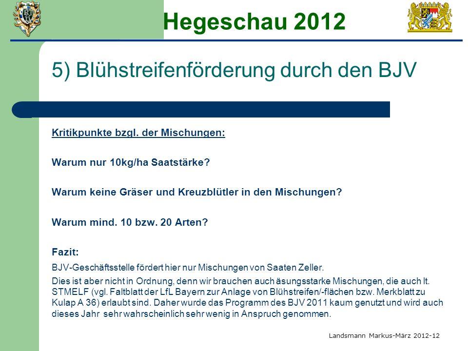 Hegeschau 2012 5) Blühstreifenförderung durch den BJV