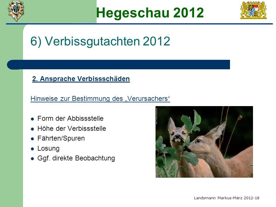 Hegeschau 2012 6) Verbissgutachten 2012 Form der Abbissstelle