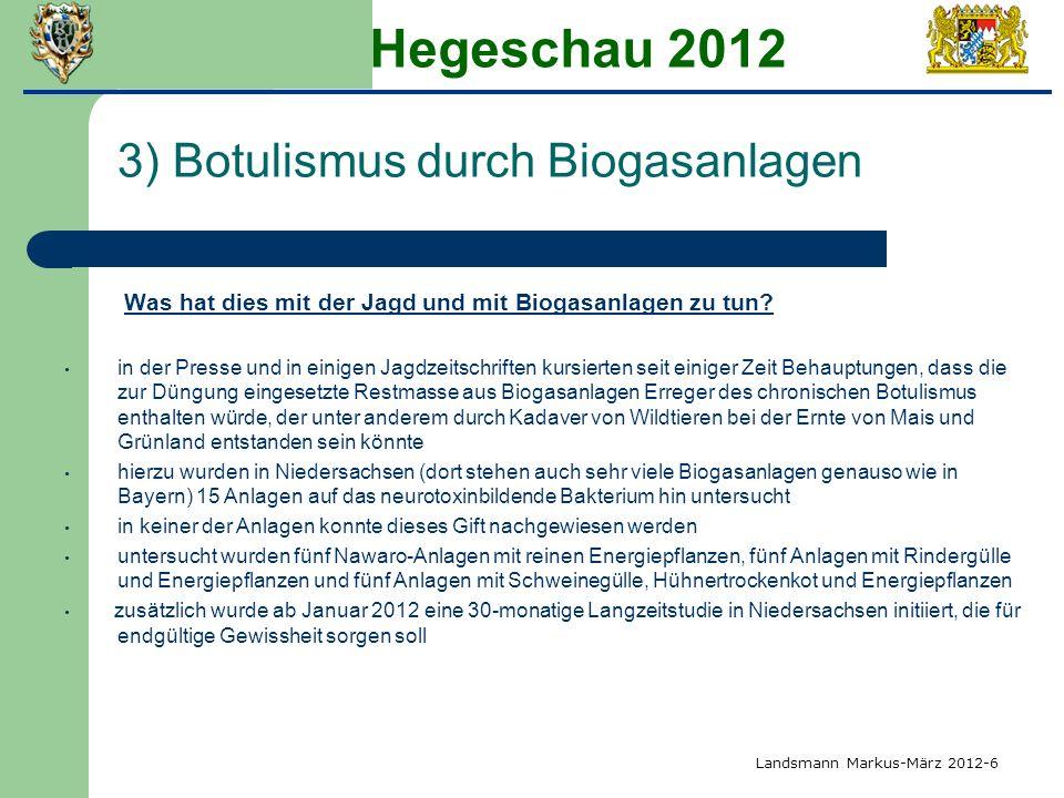 Hegeschau 2012 3) Botulismus durch Biogasanlagen