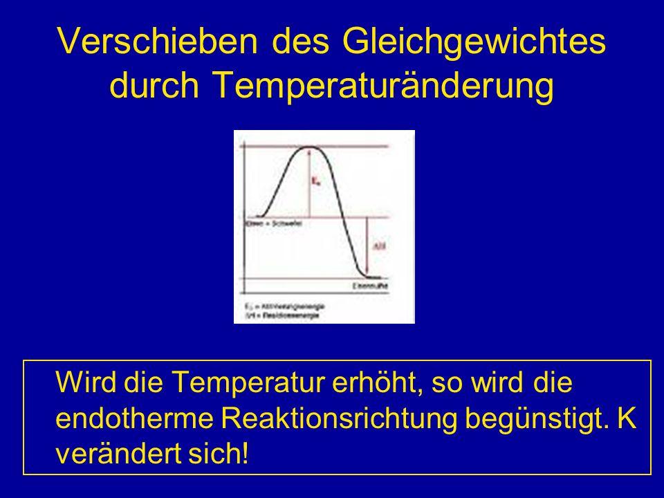 Verschieben des Gleichgewichtes durch Temperaturänderung