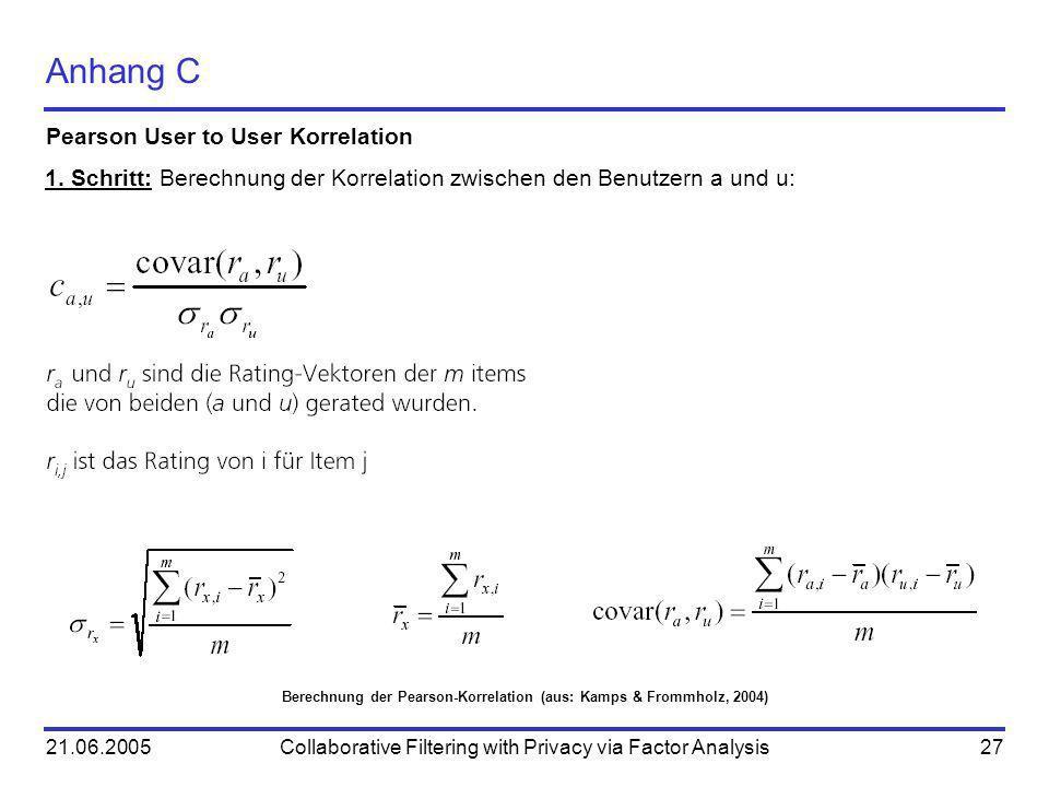Berechnung der Pearson-Korrelation (aus: Kamps & Frommholz, 2004)