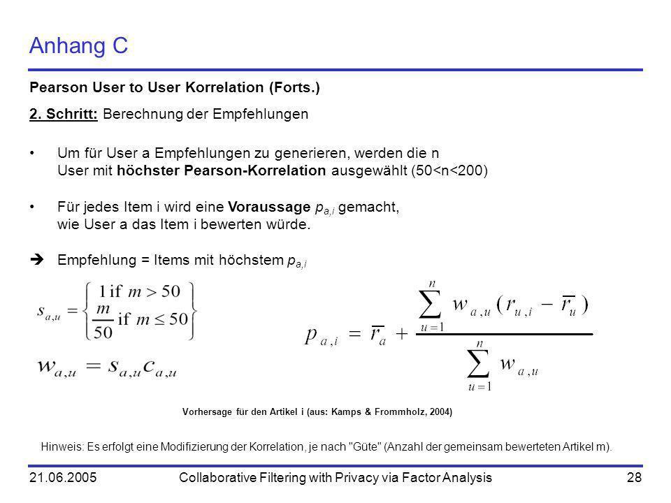 Vorhersage für den Artikel i (aus: Kamps & Frommholz, 2004)