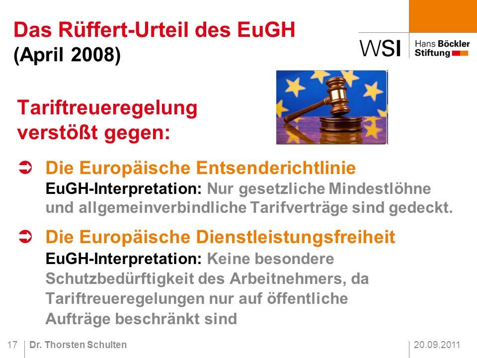 Das Rüffert-Urteil des EuGH (April 2008)