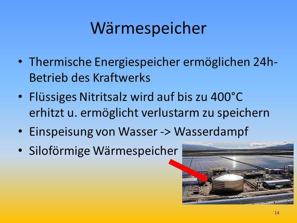 Wärmespeicher Thermische Energiespeicher ermöglichen 24h-Betrieb des Kraftwerks.
