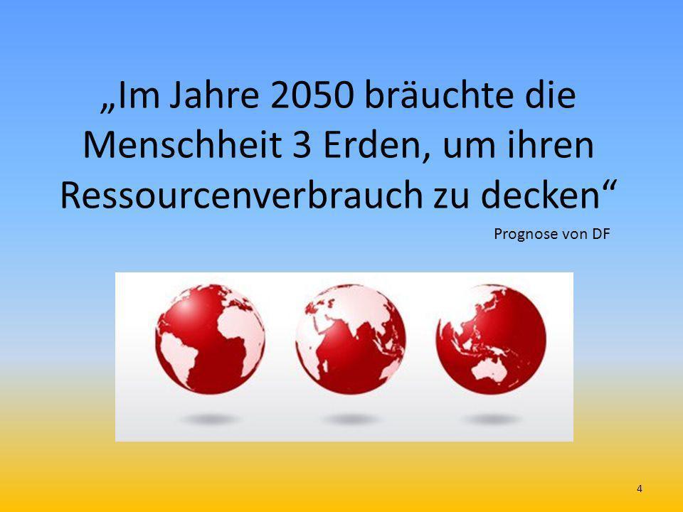 """""""Im Jahre 2050 bräuchte die Menschheit 3 Erden, um ihren Ressourcenverbrauch zu decken"""
