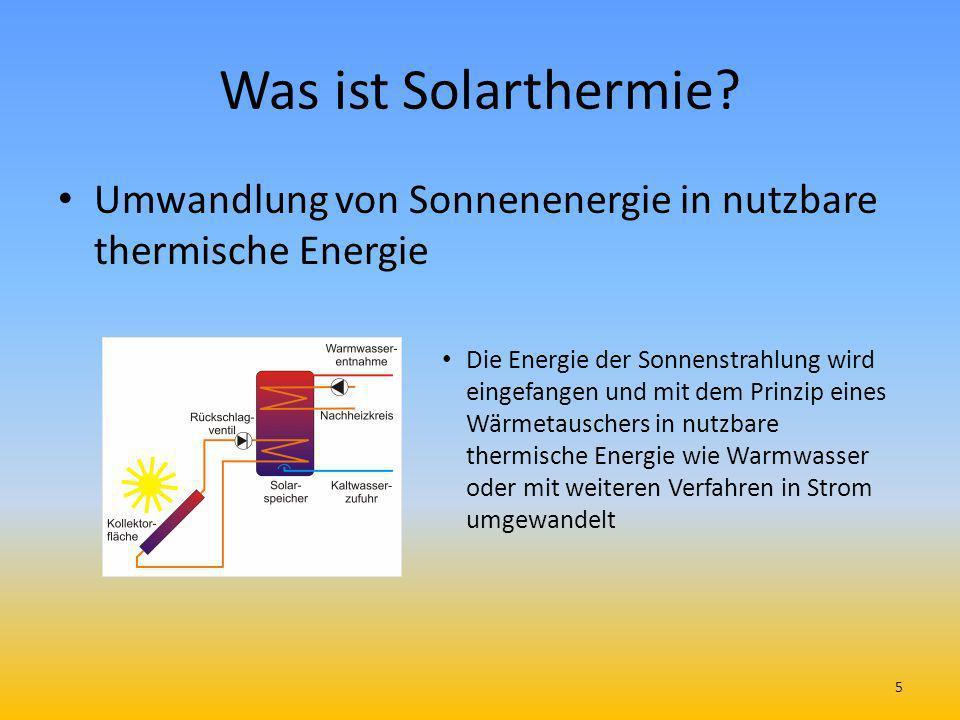 Was ist Solarthermie Umwandlung von Sonnenenergie in nutzbare thermische Energie.