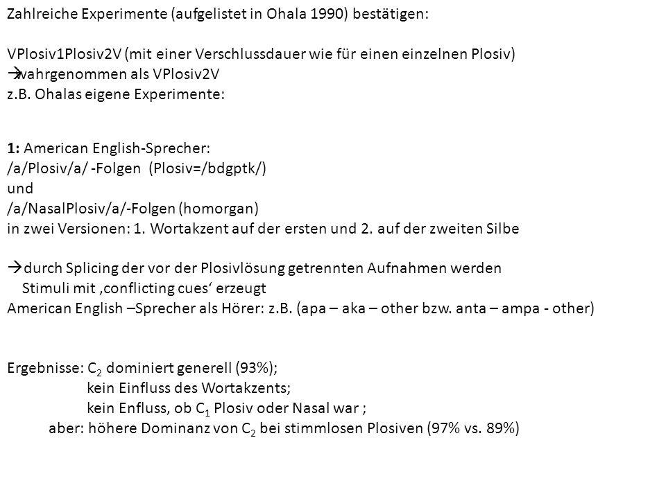 Zahlreiche Experimente (aufgelistet in Ohala 1990) bestätigen: