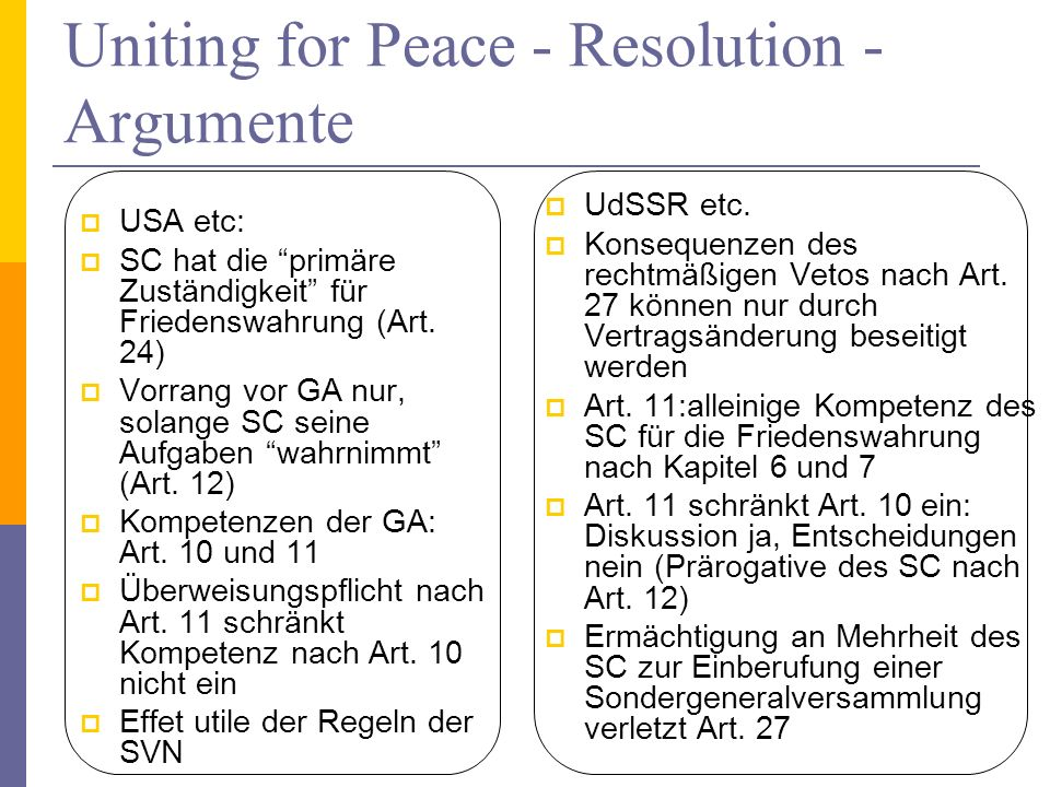 Uniting for Peace - Resolution - Argumente