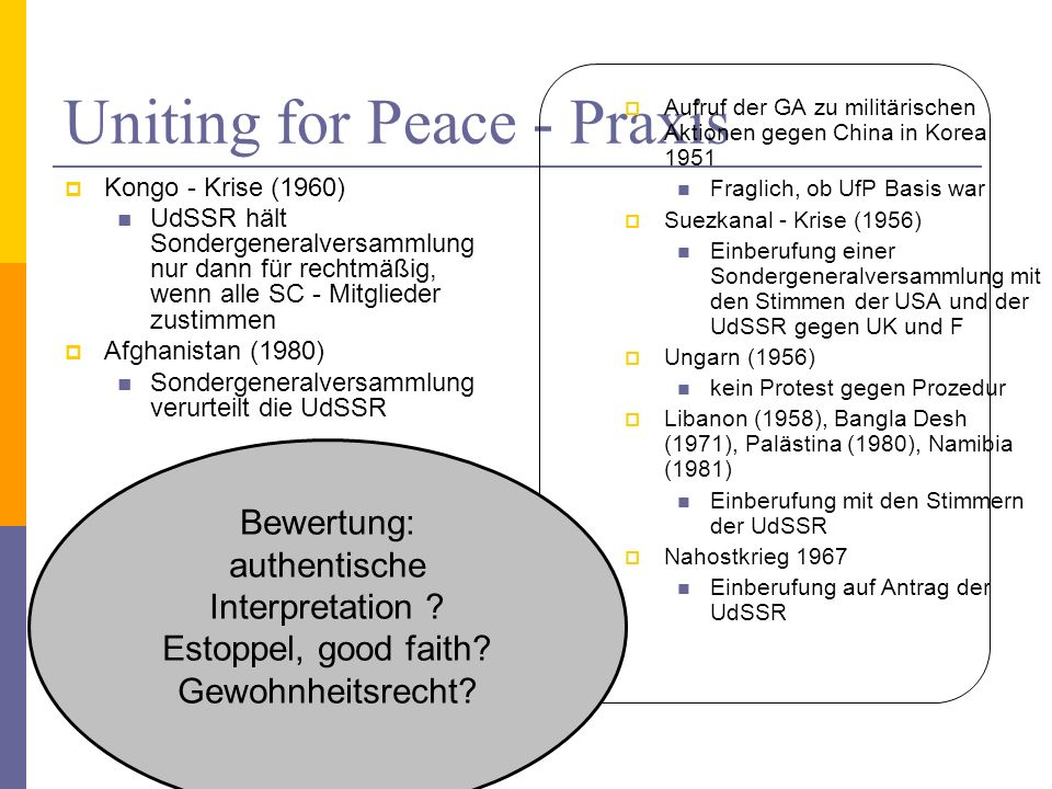 Uniting for Peace - Praxis