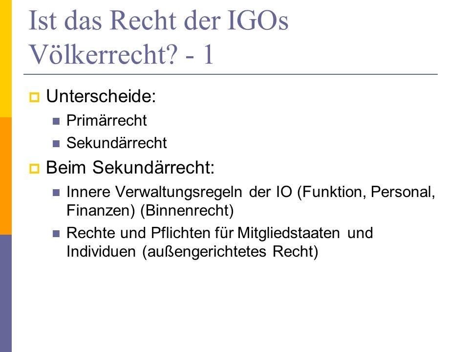 Ist das Recht der IGOs Völkerrecht - 1