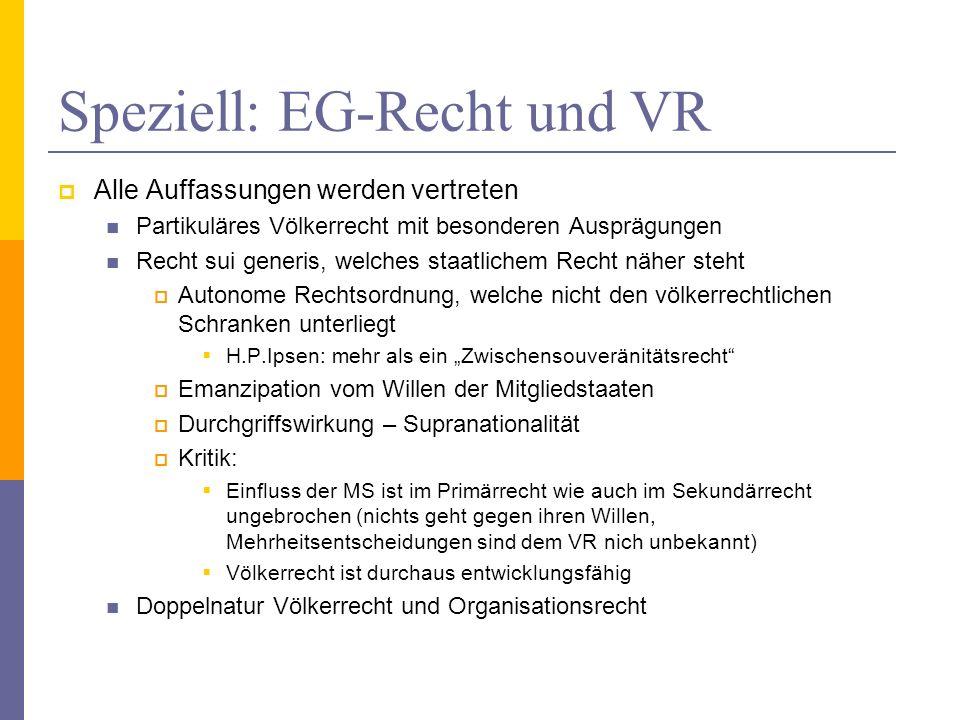 Speziell: EG-Recht und VR