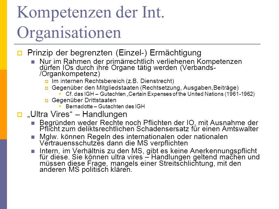 Kompetenzen der Int. Organisationen