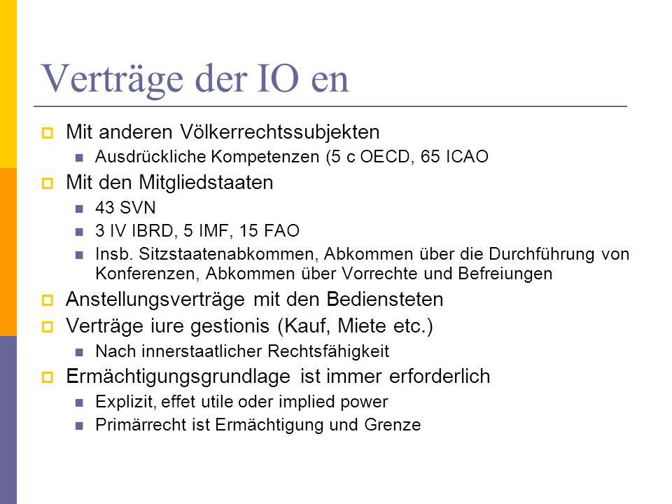 Verträge der IO en Mit anderen Völkerrechtssubjekten