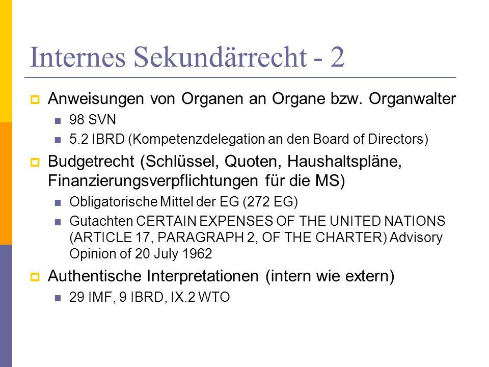 Internes Sekundärrecht - 2
