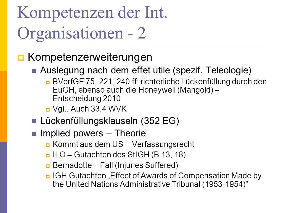 Kompetenzen der Int. Organisationen - 2