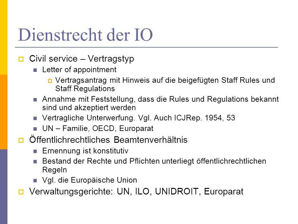 Dienstrecht der IO Civil service – Vertragstyp