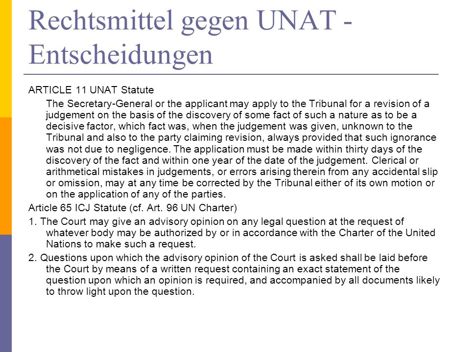 Rechtsmittel gegen UNAT - Entscheidungen