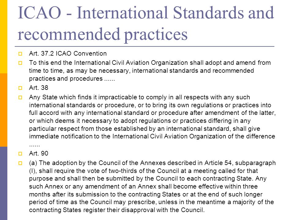 ICAO - International Standards and recommended practices