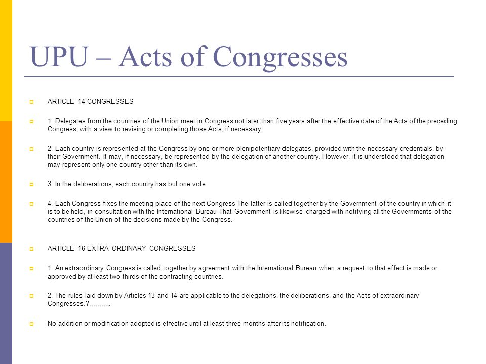 UPU – Acts of Congresses