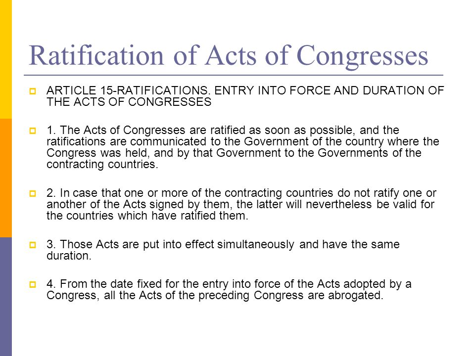 Ratification of Acts of Congresses