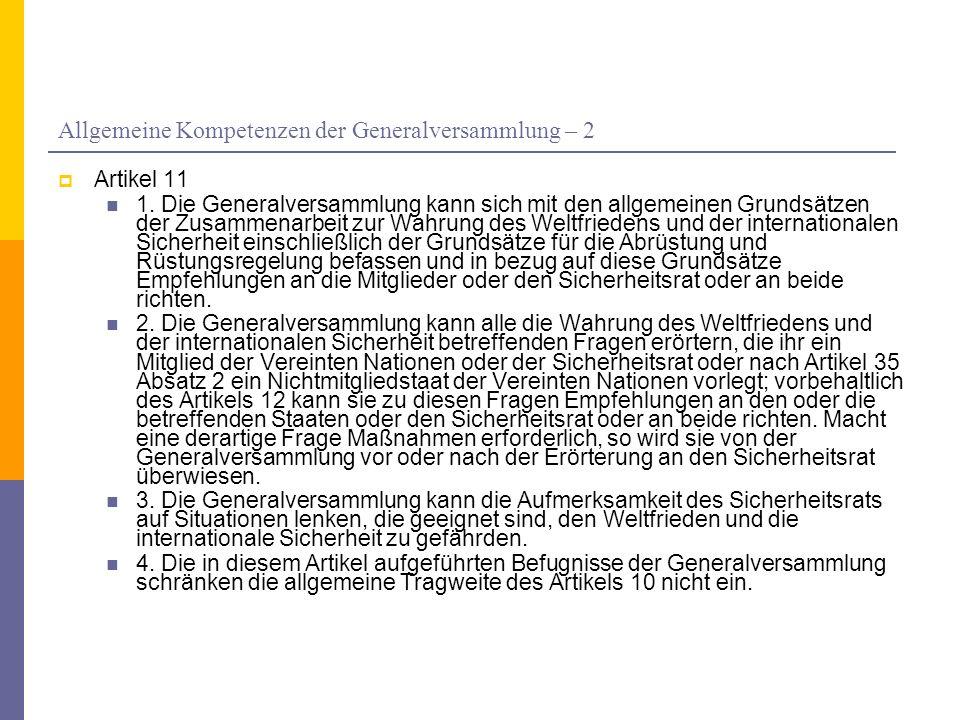 Allgemeine Kompetenzen der Generalversammlung – 2