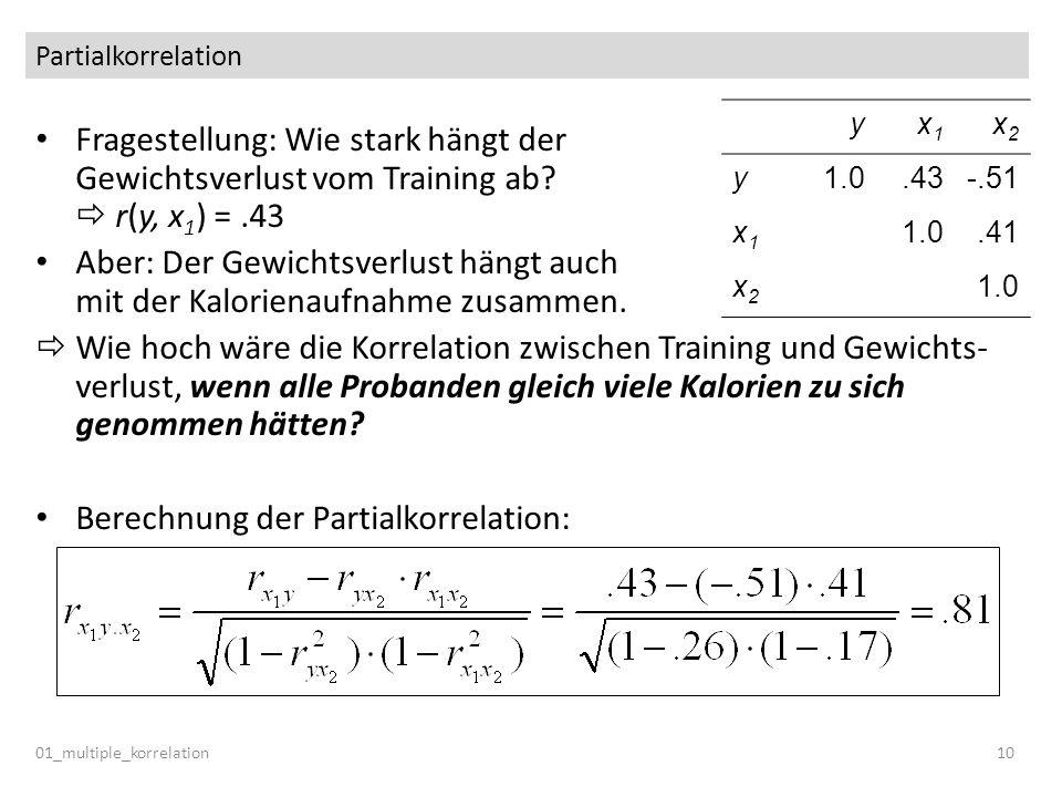 Berechnung der Partialkorrelation: