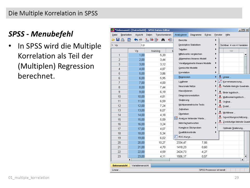 Die Multiple Korrelation in SPSS