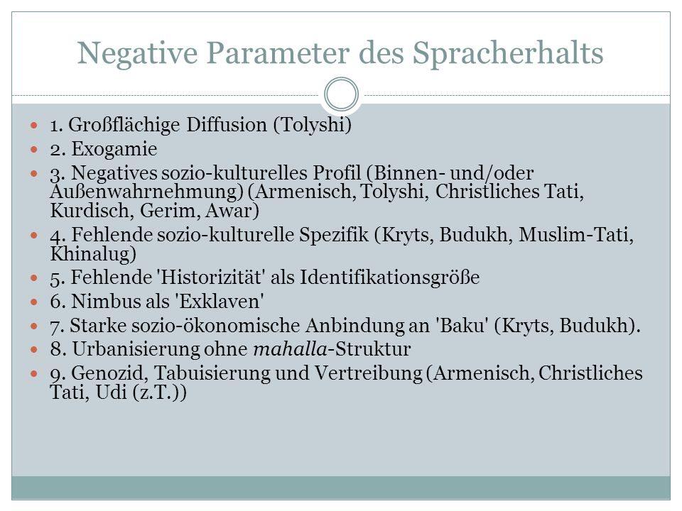 Negative Parameter des Spracherhalts