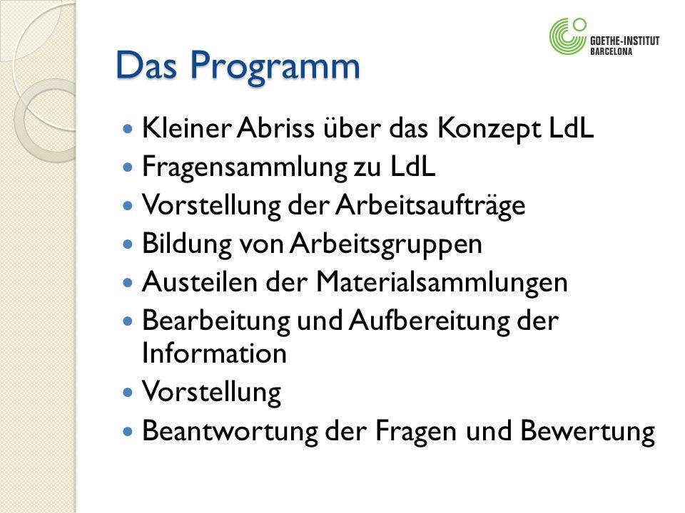 Das Programm Kleiner Abriss über das Konzept LdL Fragensammlung zu LdL