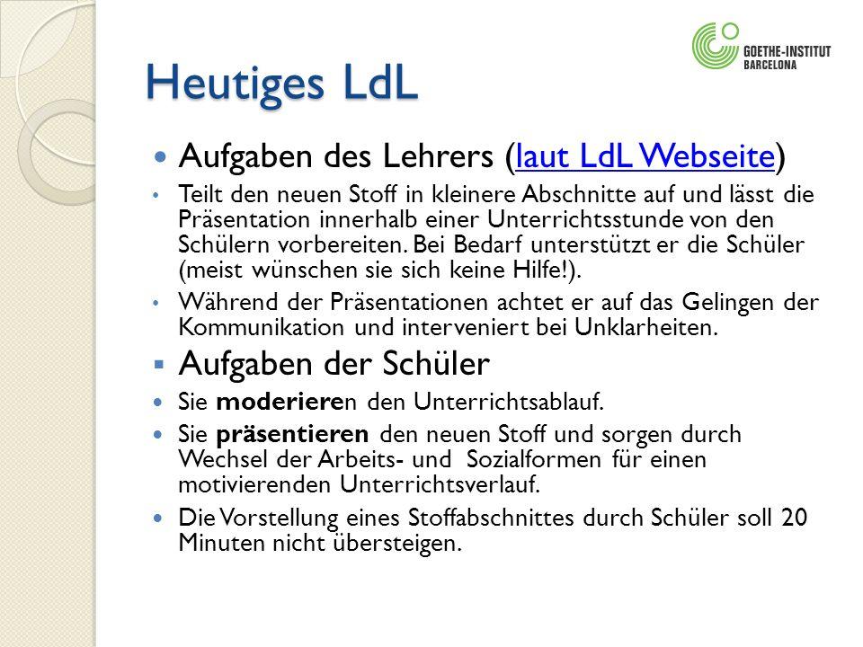 Heutiges LdL Aufgaben des Lehrers (laut LdL Webseite)