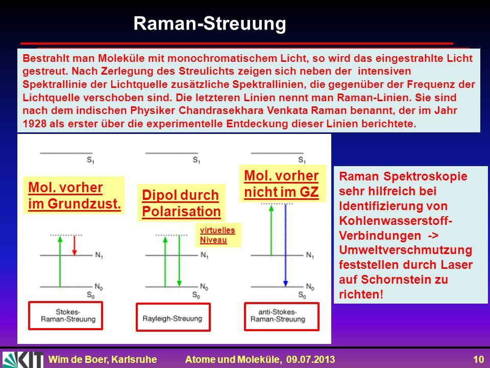 Raman-Streuung Mol. vorher nicht im GZ Mol. vorher im Grundzust.