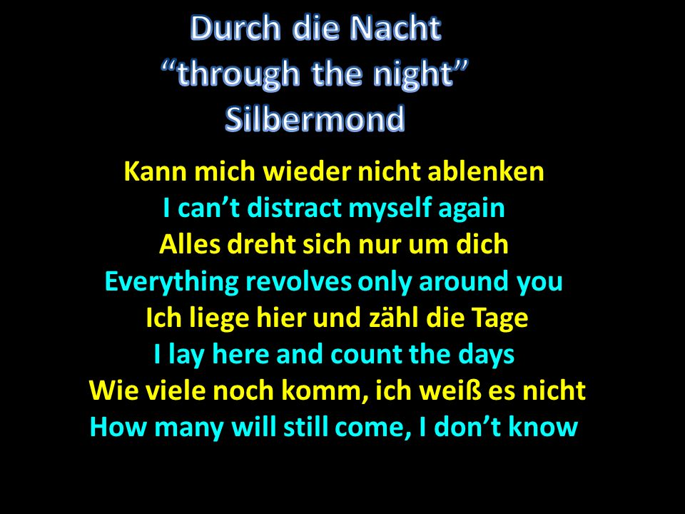 Durch die Nacht through the night Silbermond