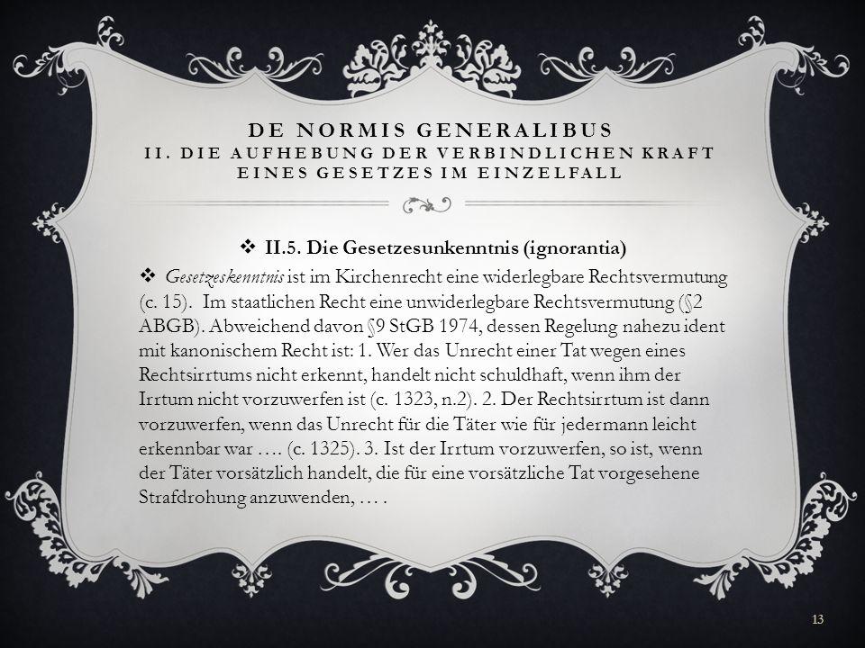 II.5. Die Gesetzesunkenntnis (ignorantia)