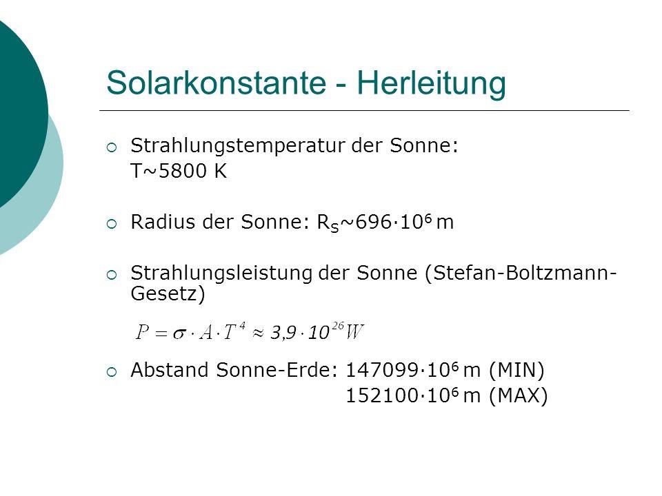 Solarkonstante - Herleitung