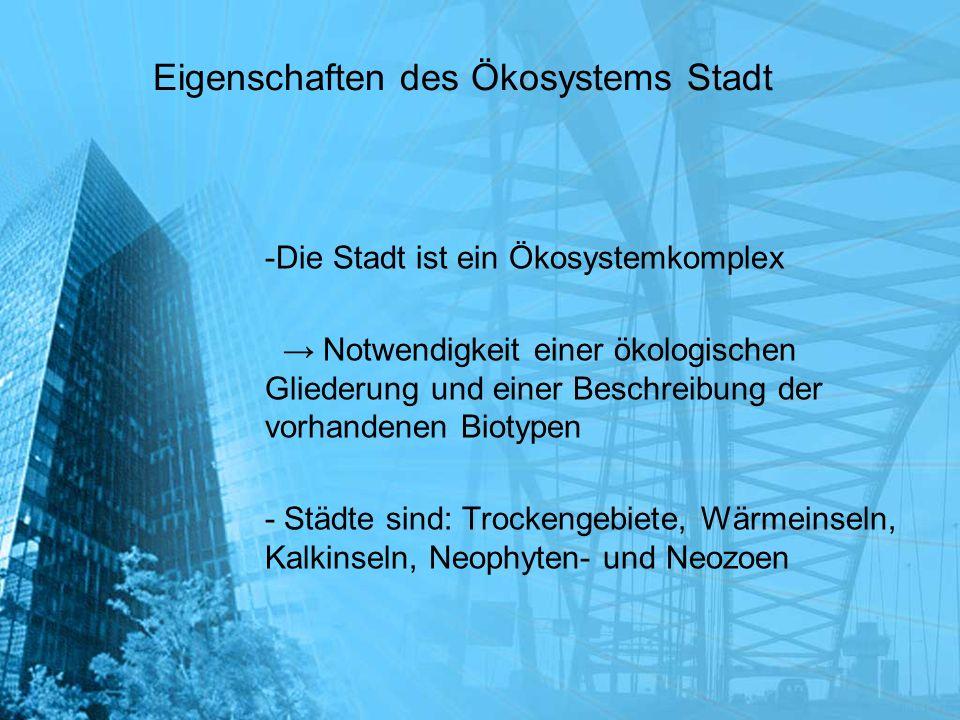 Eigenschaften des Ökosystems Stadt