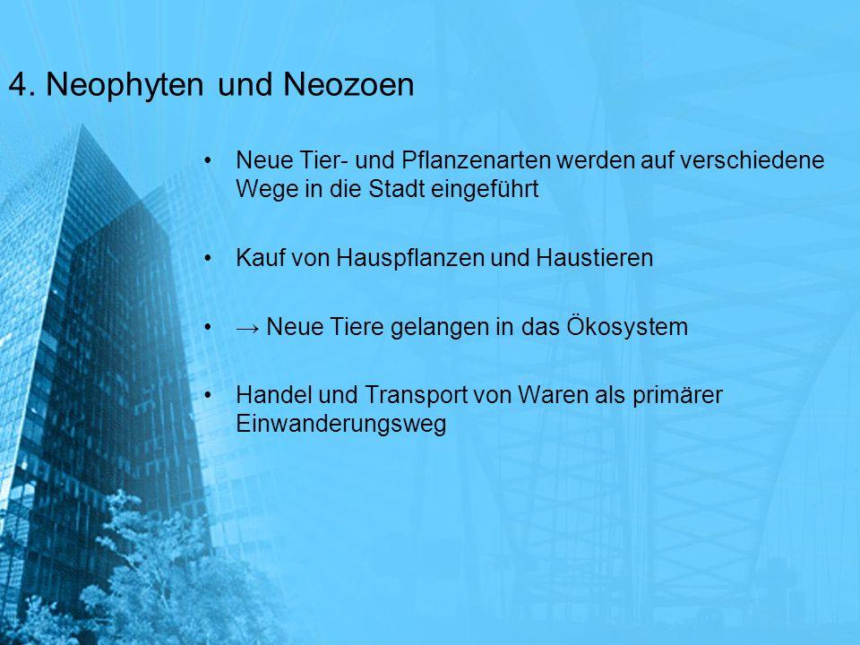 4. Neophyten und Neozoen Neue Tier- und Pflanzenarten werden auf verschiedene Wege in die Stadt eingeführt.