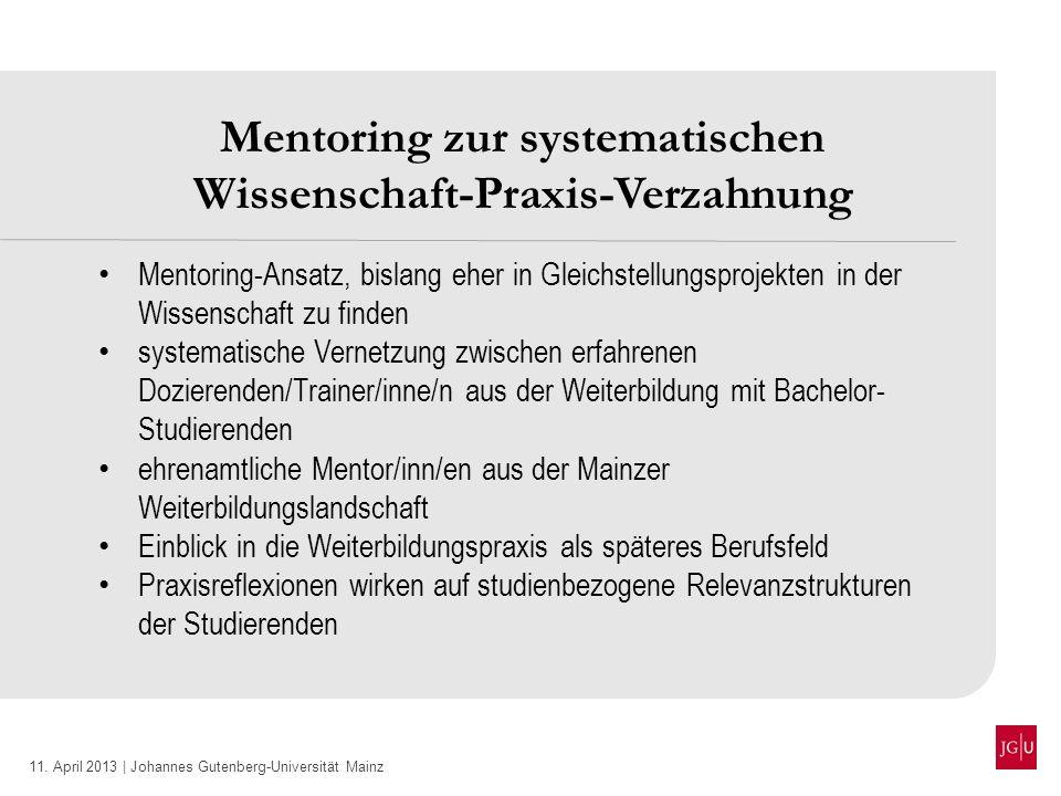 Mentoring zur systematischen Wissenschaft-Praxis-Verzahnung
