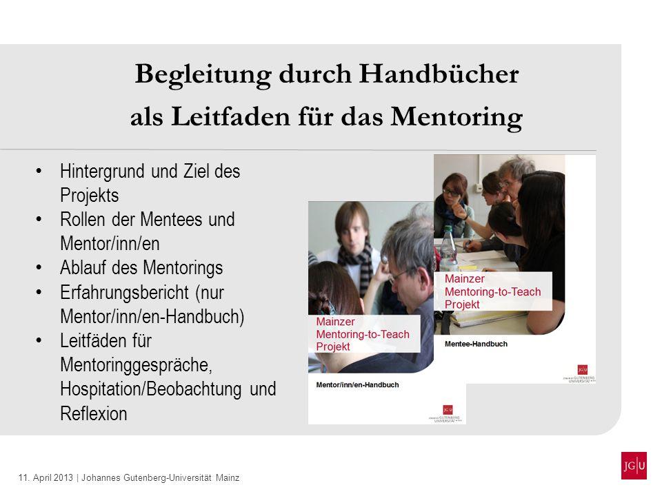 Begleitung durch Handbücher als Leitfaden für das Mentoring