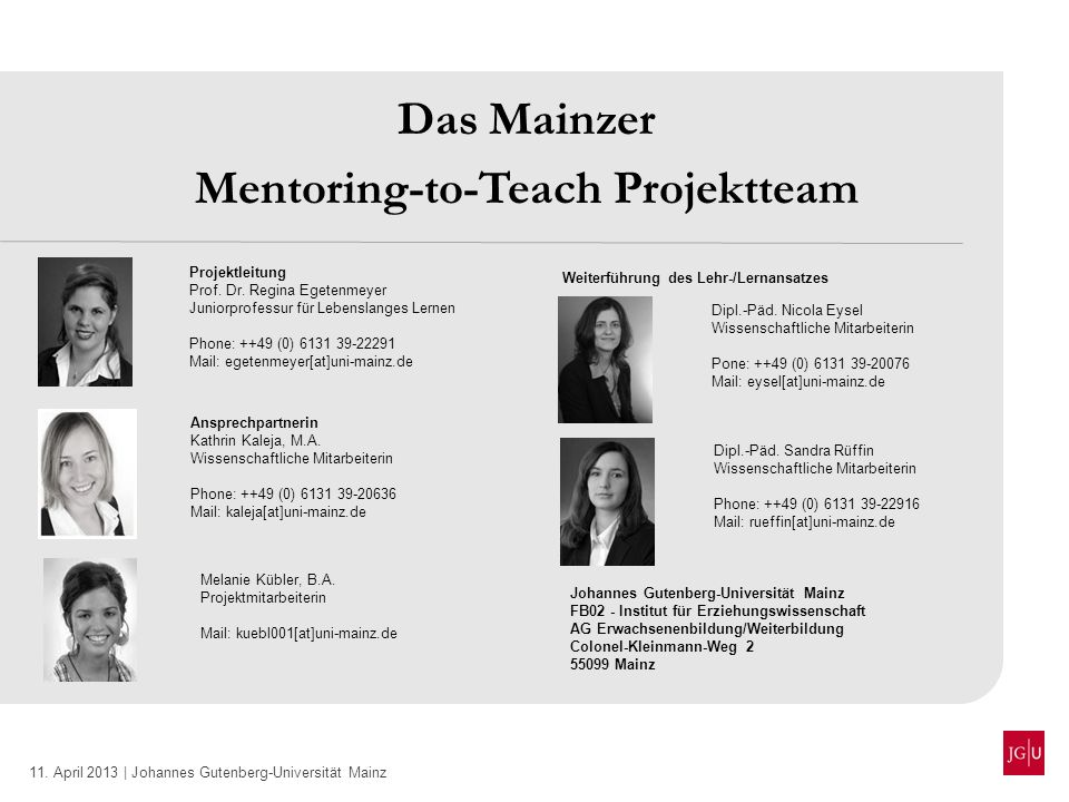 Mentoring-to-Teach Projektteam