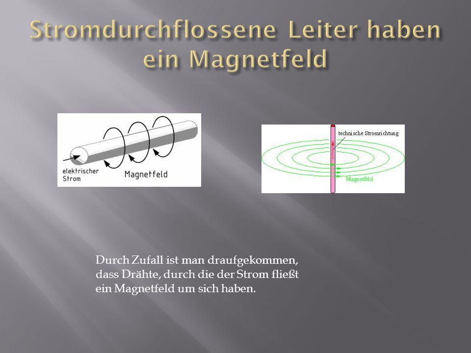 Stromdurchflossene Leiter haben ein Magnetfeld