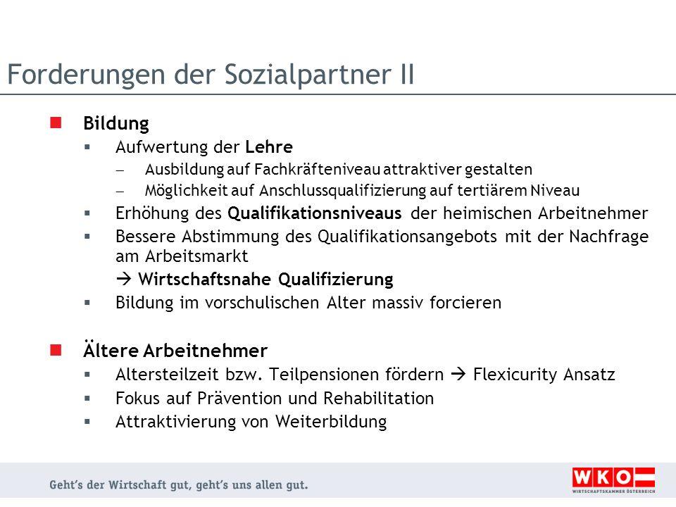 Forderungen der Sozialpartner II