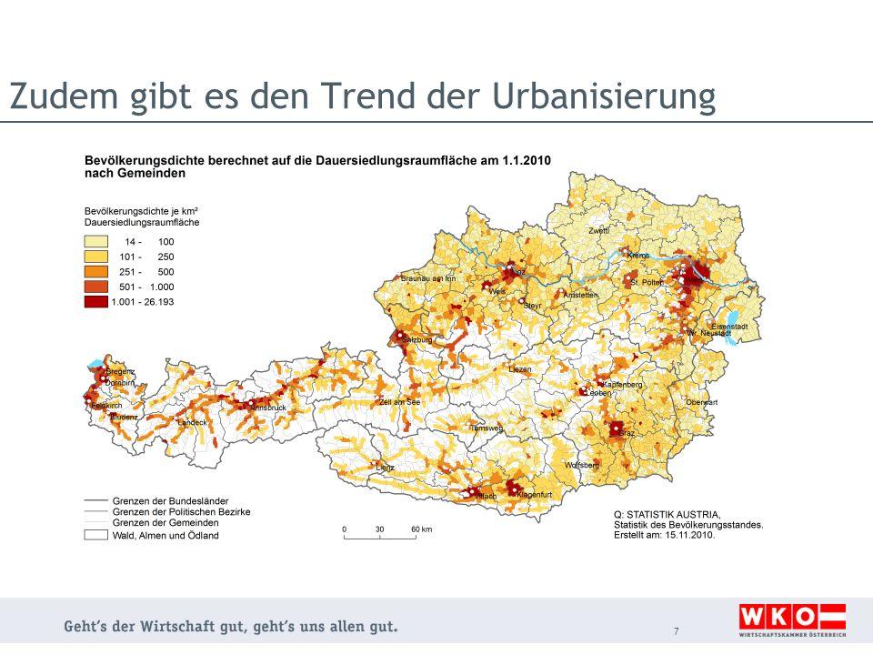 Zudem gibt es den Trend der Urbanisierung