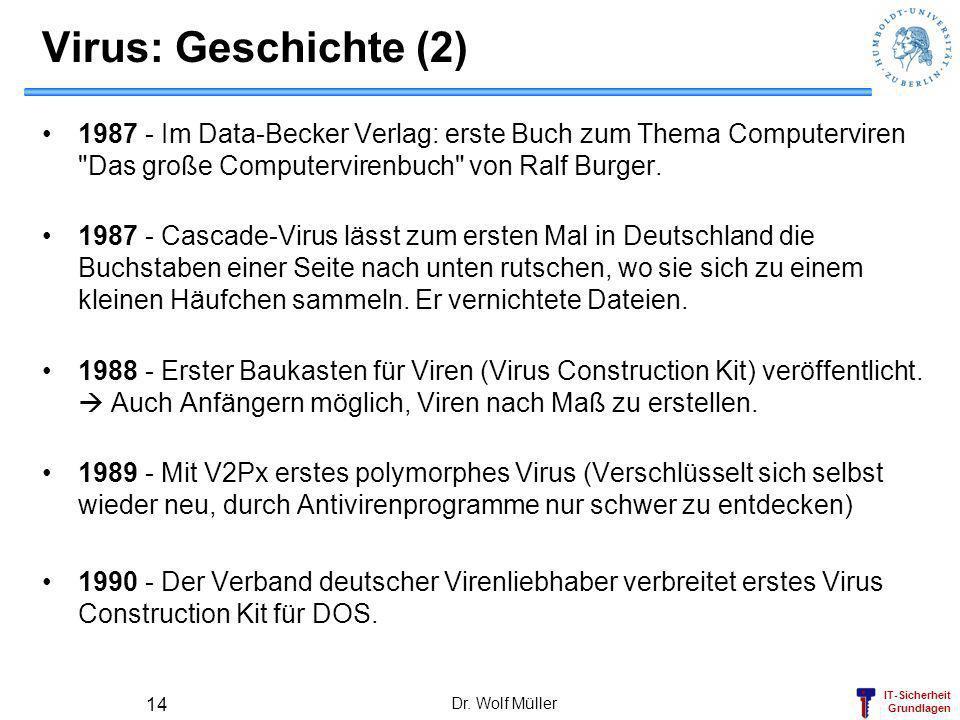 Virus: Geschichte (2) 1987 - Im Data-Becker Verlag: erste Buch zum Thema Computerviren Das große Computervirenbuch von Ralf Burger.