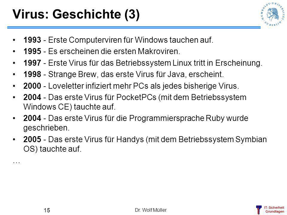 Virus: Geschichte (3) 1993 - Erste Computerviren für Windows tauchen auf. 1995 - Es erscheinen die ersten Makroviren.