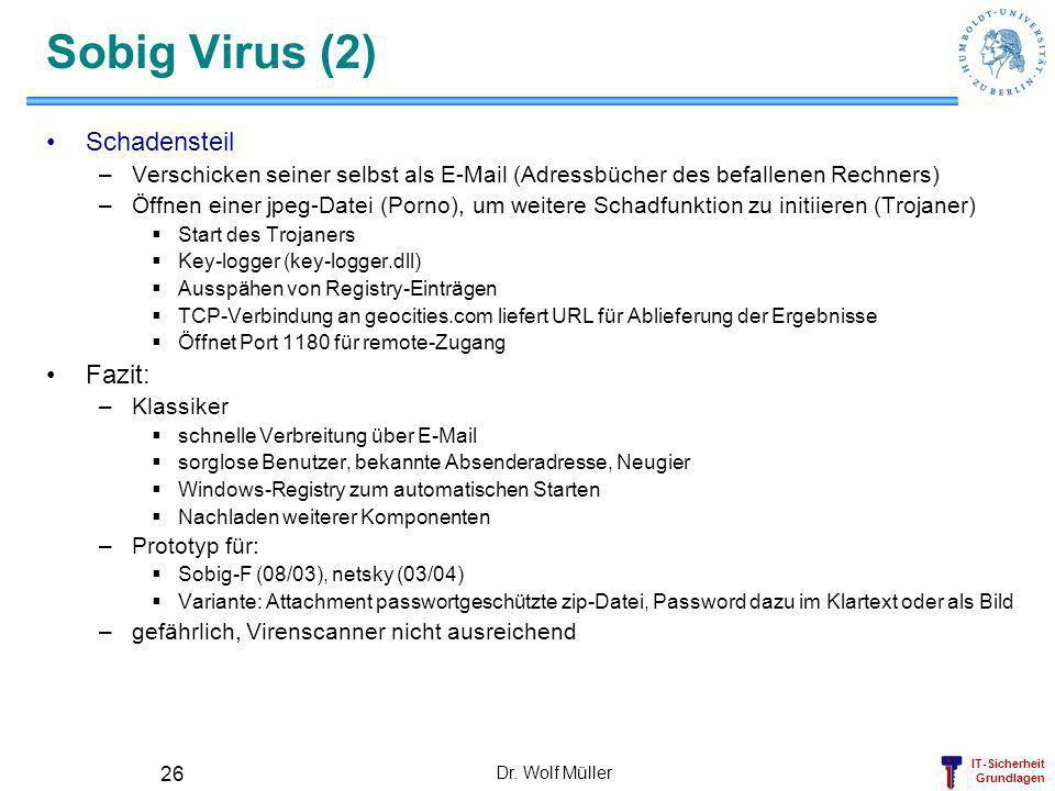 Sobig Virus (2) Schadensteil Fazit: