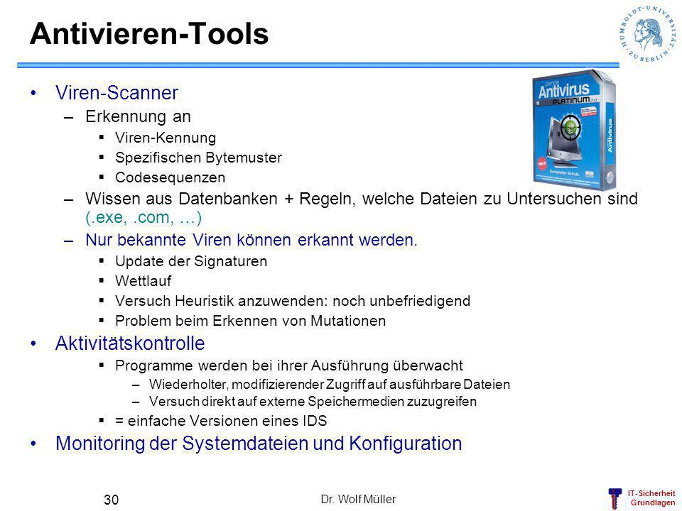 Antivieren-Tools Viren-Scanner Aktivitätskontrolle