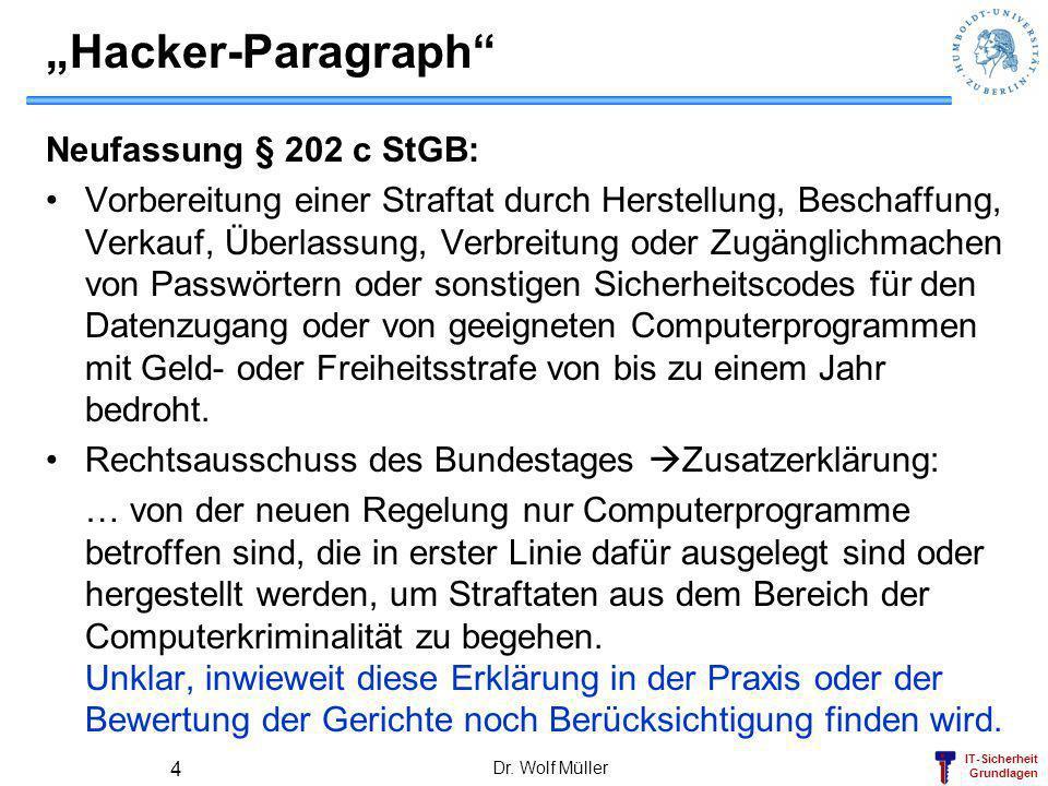 """""""Hacker-Paragraph Neufassung § 202 c StGB:"""