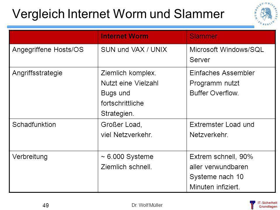 Vergleich Internet Worm und Slammer