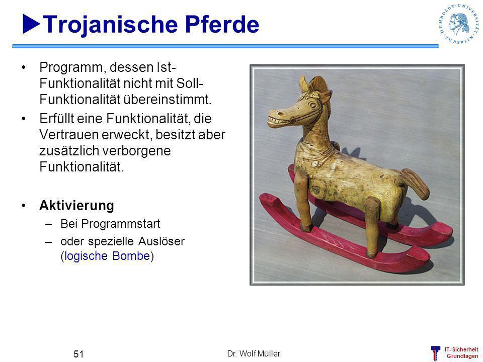 Trojanische Pferde Programm, dessen Ist-Funktionalität nicht mit Soll-Funktionalität übereinstimmt.